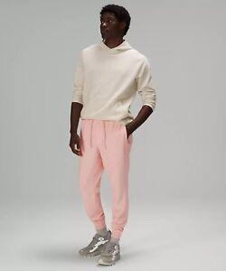 Lululemon Mens At Ease Jogger Heathered Pink Mist White Sweat Pants Size X-Large