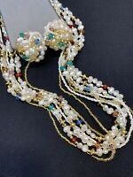 Vintage beaded Faux Pearl Pastel Beaded 7 Strand Necklace W/ Clip Earrings Set