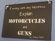 Motorcycles and Guns Sign - Biker Bar Garage Man Cave Hunting Harley Shooting
