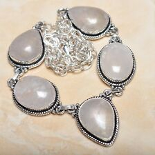 "Handmade Natural Rutilated Quartz Jasper 925 Sterling Silver Necklace 21"" N00472"