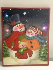 Snowman Family Picture on Canvas with Led Lights Wall Art Christmas Decor