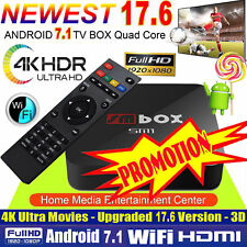 4K PRO KODI 17.6 Quad Core Android 7.1 Smart TV Box WIFI Media Sports Movies UK