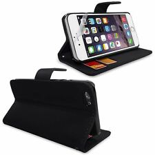 Black PU Leather For iPhone 6G Plus 5.5 Side Wallet Flip Case Cover+Screen Guard