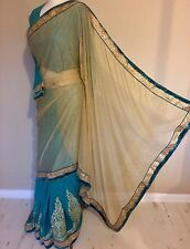 Indian Lycra/georgette Saree Sari With Readymade Long Sleeve Blouse + Petticoat