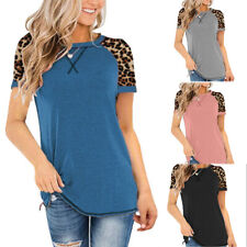 Summer Women Short Sleeve Crew Neck T Shirt Casual Leopard Loose Tunic Blouse