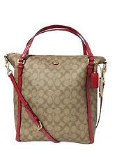 Coach Peyton Signature Convertible Shoulder Handbag Brass/Khaki/Red F24601