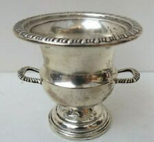 Sterling Silver Gadrooned Rim Toothpick Match Holder Urn Double Handled