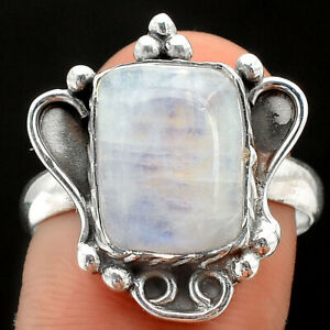 Rainbow Moonstone - India 925 Sterling Silver Ring s.9 Jewelry E839