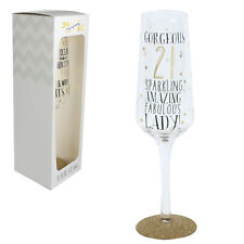 Signography Sparkling Prosecco Flute Glass in Gift Box - 21st Birthday