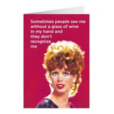 """Retro Humour """"Sometimes Wine"""" Greetings Card Birthday Gift Occasion Funny"""