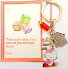 Thank you Gift Nursery Teacher Hello Kitty ABC Key Ring On Gift Card in Bag