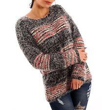 Gestreifte Grobe Damen-Pullover & Strickware mit Hüftlang ohne Verschluss