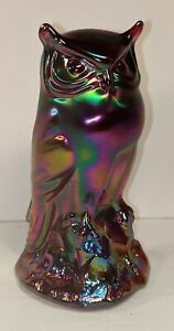 """Fenton Red carnival glass with Amethyst look 6"""" owl figurine"""