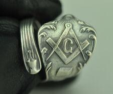 Beautiful 925 Sterling Silver Freemason Masonic Compass Spoon Ring