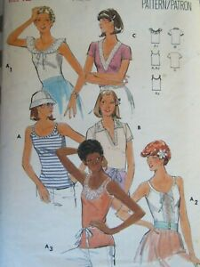 VTG 70s BUTTERICK 5486 Misses Fitted T-Shirts/Tops in 6 Versions PATTERN 12/34B