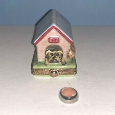 Artoria Limoges France Dog House w Removable Bowl Trinket Box New In Box