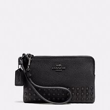 Coach Double Conner Zip Wallet In Pebble Leather 64252 Black And Antique Nickel
