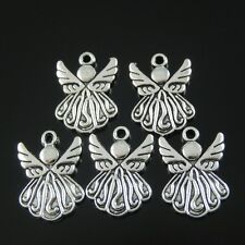 50pcs Antique Style Silver Tone Alloy Wing Angel Pendant Charms 19mm