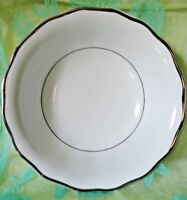 Serving Bowl white with Silver Trim Scalloped Edge Made in Poland Fine China