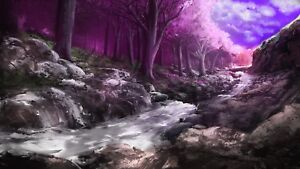 Fantasy Forest Pink Woods Stream Painting Large Wall Art Framed Canvas Pictures