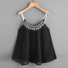 UK Women Summer Sleeveless Tank Tops Embroidered Chiffon Cami Shirt Blouse Loose Black M