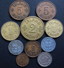 Iceland # 10 old coins for 1925-1942,circulated,  Iceland Kingdom . Rare coins.