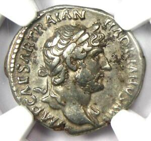 Ancient Roman Hadrian AR Denarius Coin 117-138 AD - Certified NGC Choice VF