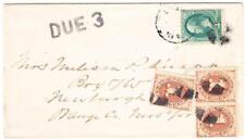 USA POSTAGE DUE-Sc#J1(x3)-NEWBURGH N.Y. DEC/19 REC`D(backstamp