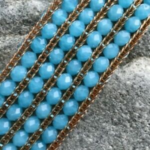 metal bracelet Aqua glass beads