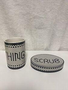 "Kassatex Black & Ivory Mosaic Tiles ""THINGS"" And ""SOAP"" Fine Porcelain Tumbler"