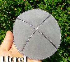 Stylish Gray Leather Suede Kippah Yarmulka Jewish Kippa Flat Yamaka Kipah, Grey