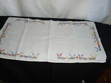 tray cloth linen embroidered flower boarder 24x 12 inches