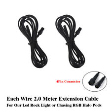 2x Extension Cord Cable Wire 6.56FT For Multicolor RGB LED 4 & 8 Pods Rock Light