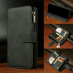 For Samsung S21 A12 S20 Zip Coin Purse Card slot Flip Leather Wallet Case Cover