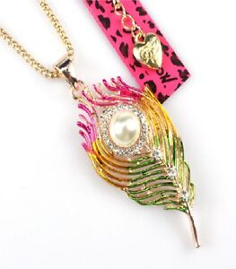 Betsey Johnson Rainbow Feather Rose Gold Pendant Chain Necklace Free Gift Bag
