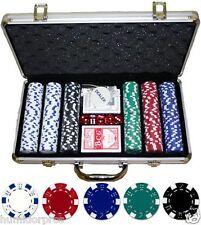 Composite 11.5g 300 piece Poker Chips w/ Aluminum Case Cards Dice Dealer Button