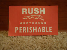 Greyhound Bus Lines RUSH/Perishable Tag Package Express