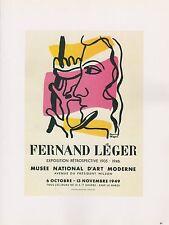 "1989 VINTAGE ""FERNAND LEGER"" D'ART MODERNE MOURLOT MINI POSTER COLOR Lithograph"