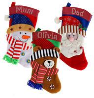 Personalised Crystal Christmas Santa Snowman Reindeer Stocking Xmas Luxury Sack