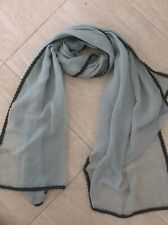 Grey  Scarf /Wrap / hijab -chiffon type Huge - black lace edging