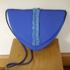 Vintage Sidonie Larizzi Paris Electric Blue Leather Ruched Prom Cocktail Purse