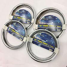 "4 PC SET 15"" Chrome wheel Trim Rings Beauty 2"" Depth"