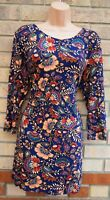 TU BLUE MULTI COLOUR FOLK FLORAL LONG SLEEVE VISCOSE LONG TOP BLOUSE SHIRT 16