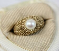 Vintage Mid Century Modern  14K Yellow Gold Pearl Ring Retro Luxury 6 Pretty