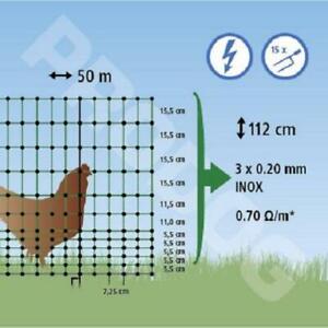 Filet cloture DOUBLE POINTES, VOLAILLE poule, long 50 m/h1,12m ELECTRIFIABLE