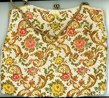 Lovely Large Victorian Beaded Bag Silk Interior