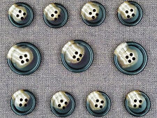 11Pcs Dark Brown Genuine Horn Buttons Set for Suit Jackets, Blazer or Sport Coat