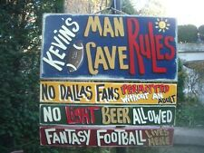 KEVIN SPORTS BAR FAN MAN CAVE RULES CUSTOM PRIMITIVE PERSONALIZED SIGN PLAQUE