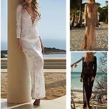 Vestito Lungo Copricostume Donna Maxi Dress Pizzo Woman Lace Cover up COV0053