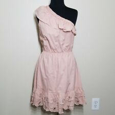 KAS New York Dress Large Pink Ruffle One Shoulder Cinched Cotton Anthropologie